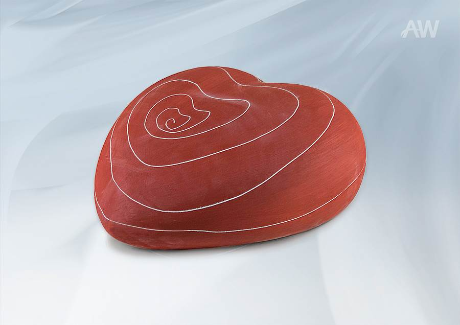COEUR - urne biodégradable en pastel-rouge